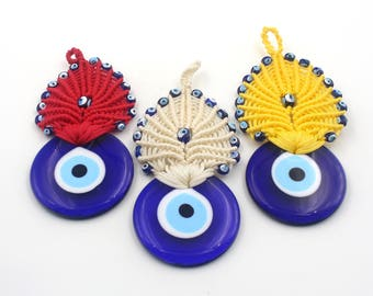 Colorful Evil Eye Macrame - Handmade Turkish Evil Eye Wall Decor Bead - New Home Gift - Evil Eye Macrame Wall Decor
