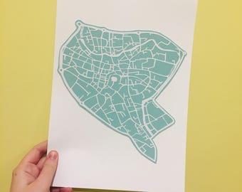 Papercut Norwich City Map Handcut Art