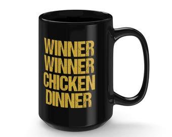 Gamer PUBG Mug Gift - Winner Winner Chicken Dinner - Coffee & Tea 15 Ounce Mug Perfect Present For Battle Royale Gamers Valentine's Day