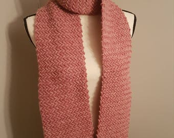 Handknit scarf, pink knit scarf, 100% wool, handmade knitted scarf