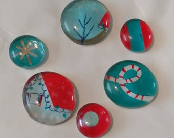 Teal Wintry Scene 1 Set of 6 Magnets