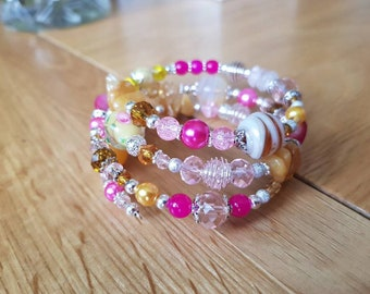 Pink and Yellow Glass Bead Bracelet