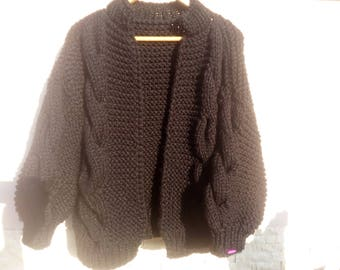 Romantic! Handknit  sweater for women, Oversized Cardigan, Chunky Knit Cardigan, Oversized black Sweater, Cozy Sweater, Fluffy Cardigan,