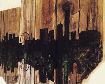 City Skyline, Acrylic on driftwood wall art, City Scape, Silhouette