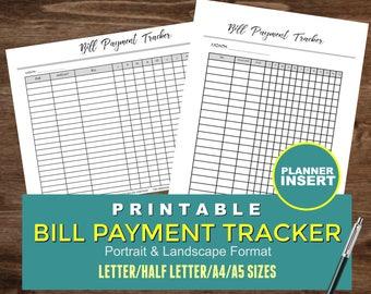 Bill Payment Tracker, Planner Insert, Printable Bill Tracker, Filofax A5 Inserts, Printable Planner Inserts, Half Letter Size, Kikki K
