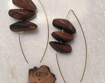 Wood & Brass Handmade Earrings