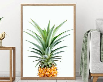 Pineapple Print - Pineapple Poster, Digital Art Print, Pineapple Decor, Pineapple Photo, Tropical Wall Art, Cactus Art, Fruit Print, Green
