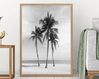 Palm Tree Print - Palm Beach Wall Art, Digital Download, Black And White Photo, Holiday Decor, Minimalist Art, Beach Print, Hawaii Print