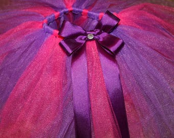 Baby Tutu and Headband set Pink/Purple with Gemstone Centered Bow