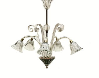 Murano Glass Chandelier Six-flame Art Deco