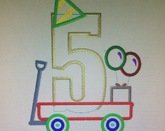 Personalized Birthday Party Wagon Number Shirt