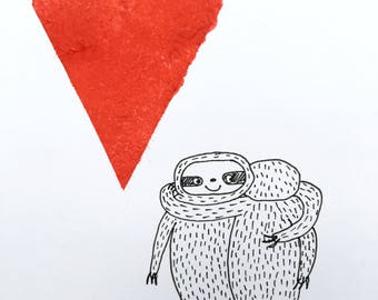 Hugging sloths card