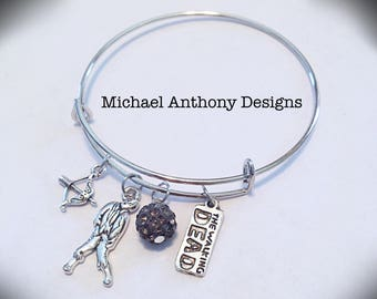 The Walking Dead Themed Expandable Bangle Bracelet w/ Grey Swarovski Crystal Pave, Zombie, Bow & Arrow, and TWD Reversible Charms
