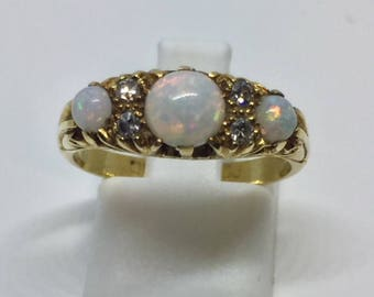 Circa 1900 Opal and Diamond Ring
