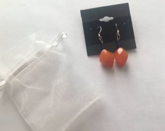 Orange Drop Earrings with Royal Blue Beads