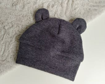 Baby Hat With Bear Ears - Baby Bear Hat - Baby Hat With Ears - Hat For Baby - Baby Winter Hat - Boy Baby Hat - Baby Shower Gift