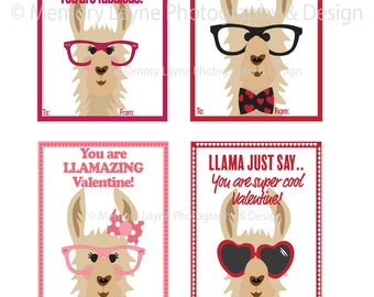 Llama Valentine's Day Card INSTANT DOWLOAD