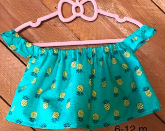 Size 6-12 Months Off The Shoulder Pineapple Crop Top