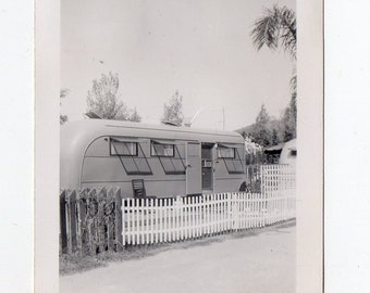 Vintage California Trailer Park Snapshot | Photo Antique Photograph Trailers Camper Retro Family | Paper Ephemera |