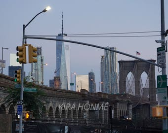 NYC Brooklyn Bridge at Twilight with World Trade Center background - Archival Photo Print, Fine Art Photography, Travel