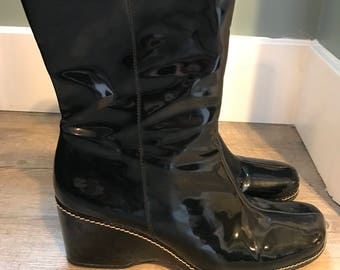 Waterproof Patent Leather Wedge Boots