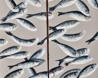 Diptych of fish - acrylic on canvas (sold together or separate)