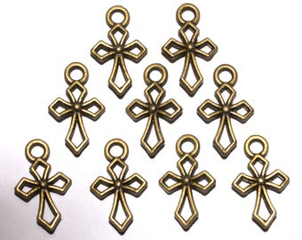 """9 Small Double Sided Bronze Colored Crosses 5/8"""" in length & 3/8"""" in width. DIY Crafts. Jewelry Supplies."""