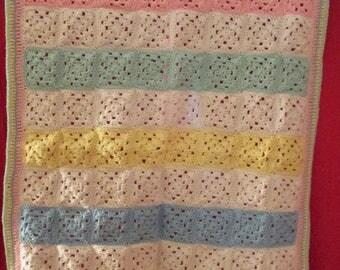 Handmade crochet baby afghan throw blanket