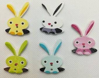10 Rabbit Wooden Buttons - Easter Bunny Buttons -Rabbit Buttons - Bunny Buttons - Easter Buttons-Easter Rabbit Buttons