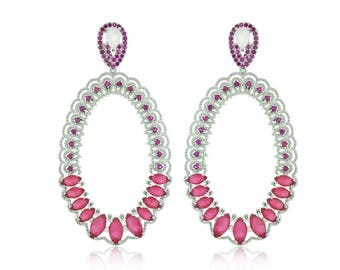Oval earrings with clear and pink zirconia