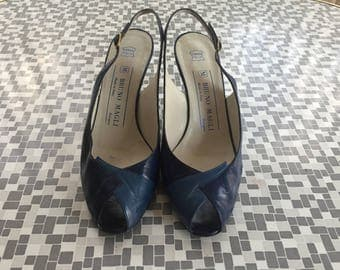 BRUNO MAGLI 70s 80s Slingbacks blue leather sz 36