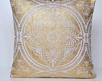 "Gold and White Mandala Cushion Cover Hand Printed 20"""