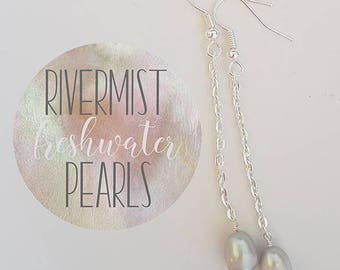 Lavender/Purple Freshwater Pearl Earrings - Dangle - Drop - Silver plated - Mothers Day - Gift - Wedding - Bridal - Elegant