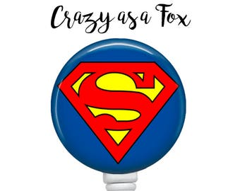 Superman Retractable Badge Holder, Badge Reel, Lanyard, Stethoscope ID Tag, doctor, md, pa, cna  Nurse, rn, teacher, student  Gift