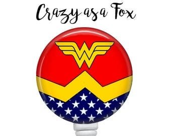 Wonder Woman Retractable Badge Holder, Badge Reel, Lanyard, Stethoscope ID Tag, doctor, md, pa, cna  Nurse, rn, teacher, student  Gift