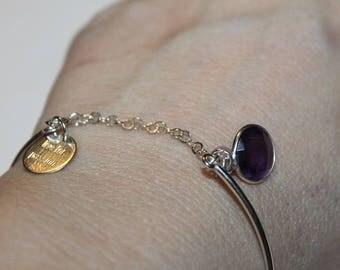 Rose Quartz and Amethyst Bangle Bracelet