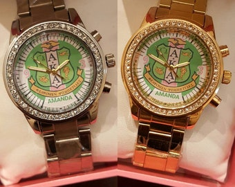 Alpha Kappa Alpha AKA Personalized Watch With Your Name In It!! Free Shipping!!
