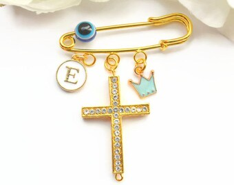 Gold Evil Eye Pin, Stroller Pin, Large Diamante Cross, Initial Name Charm, Evil Eye