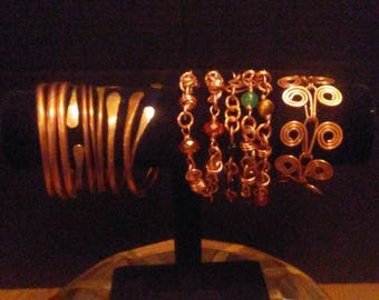 Copper bangles and linked Bracelets