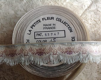 Vintage Antique French Embroidered Jacquard Ribbon Trim, Rayon,