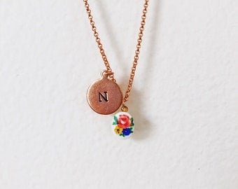 Porcelain tea flower and initial charm necklace