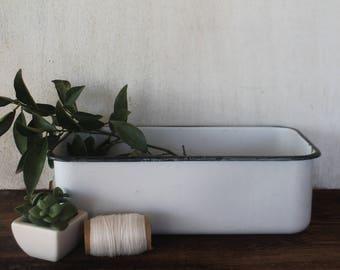 Vintage White Enamelware Basin