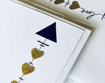 Hand drawn, love arrow card