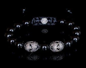 ZealVirile, luxury, bracelet, for men, menswear, sterling silver, gemstones, fashion, beaded bracelets, onyx, silver, menswear, mens fashion