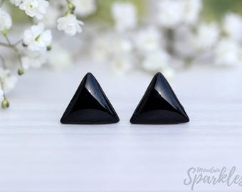 Triangle Stud Earrings Black, Minimalist Black Earrings Triangle, Simple Triangle Earrings, Geometric Earrings Hypoallergenic, Mens earrings