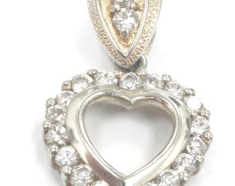 Vintage Sterling Sivler Heart Pendant Gift for Valentines 6.8 Grams