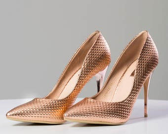 shoes with stiletto heel new copper color