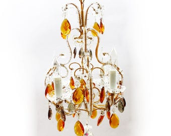 ANTIQUE Macaroni Beaded Italian CHANDELIER Vintage Gold and Silver Crystals