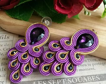 Elegant Purple Crystal Soutache Peacock Earrings Statement Dangle Ethnic Boho Chic Earrings
