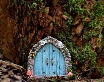 Cobblestone Blue Fairy Door - Miniature Fairy Garden Supply
